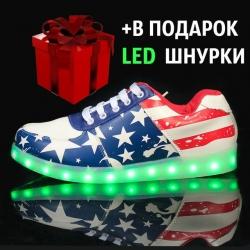 513a7fe25b45a7 Купить Светящиеся Кроссовки LED с Американским Флагом Киев цена